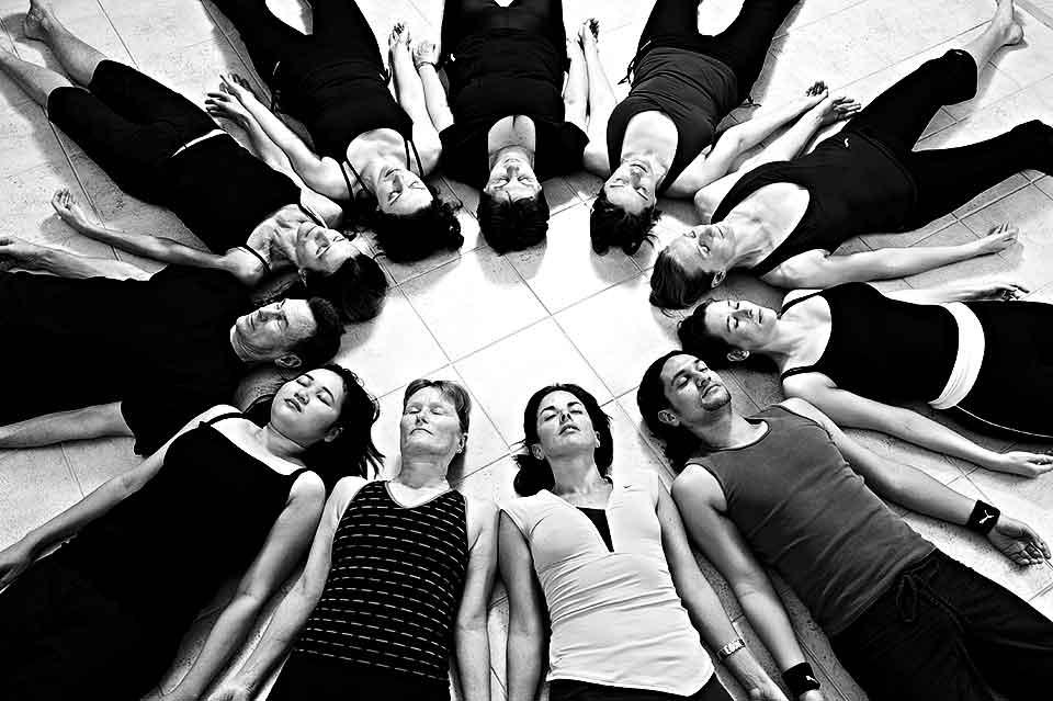 Yoga Class in Corpse Pose