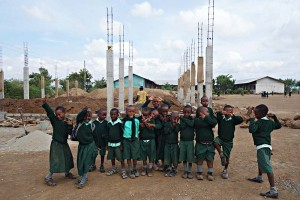 Kids in front of MultiPurpose Hall