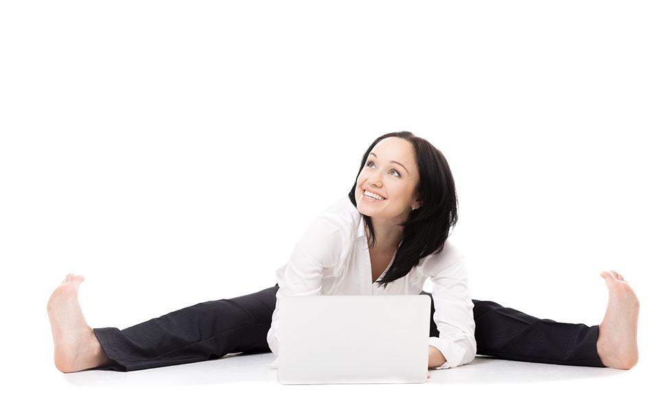 Seated Wide Angle Pose (Upavistha Konasana) with a smile